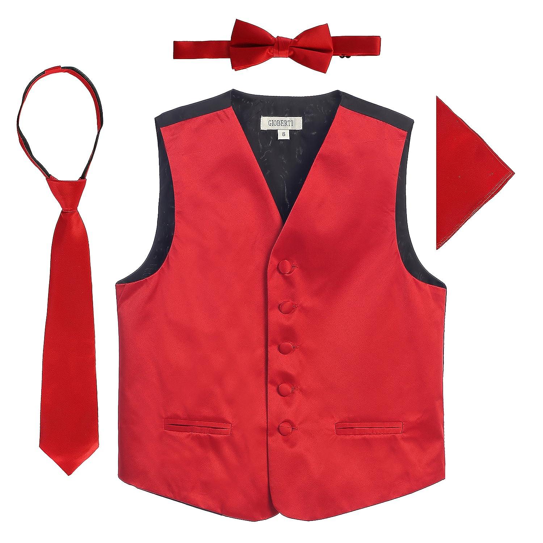 4 PC Set Gioberti Big Boys Formal Tuxedo Suit Vest, Bowtie, Tie, Pocket Square VSK4-8