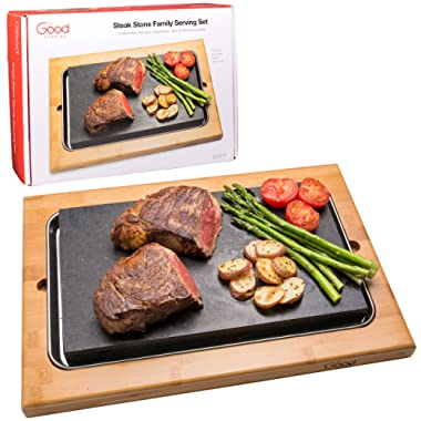 Cooking Stone- Extra Large Lava Hot Stone Cooking Platter and Cold Lava Rock Hibachi Grilling Stone (12.5  x 7.5 ) w Bamboo Platter
