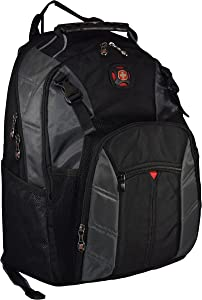 "SwissGear The Sherpa 15.6"" Padded Laptop Backpack/School Travel Bag (Black-Charcoal)"