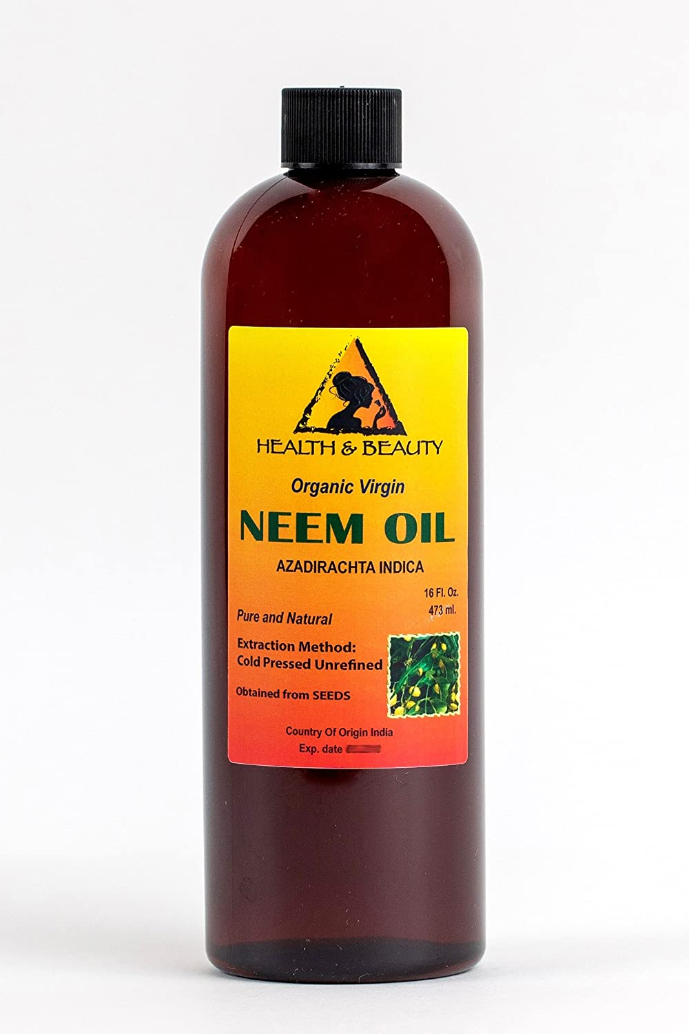 Neem Oil Virgin Organic Carrier Unrefined Cold Pressed 16 oz, 473 ml H&B OILS CENTER Co.