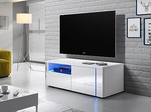 Tv schrank weiß hochglanz  TV Schrank Lowboard Sideboard Tisch Möbel Board OXY Single (Weiß ...