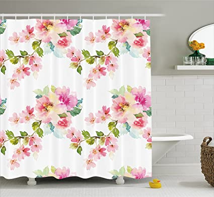 Ambesonne Floral Shower Curtain Watercolor Stylized Shabby Chic Nature Petals In Soft Tones Artsy Picture
