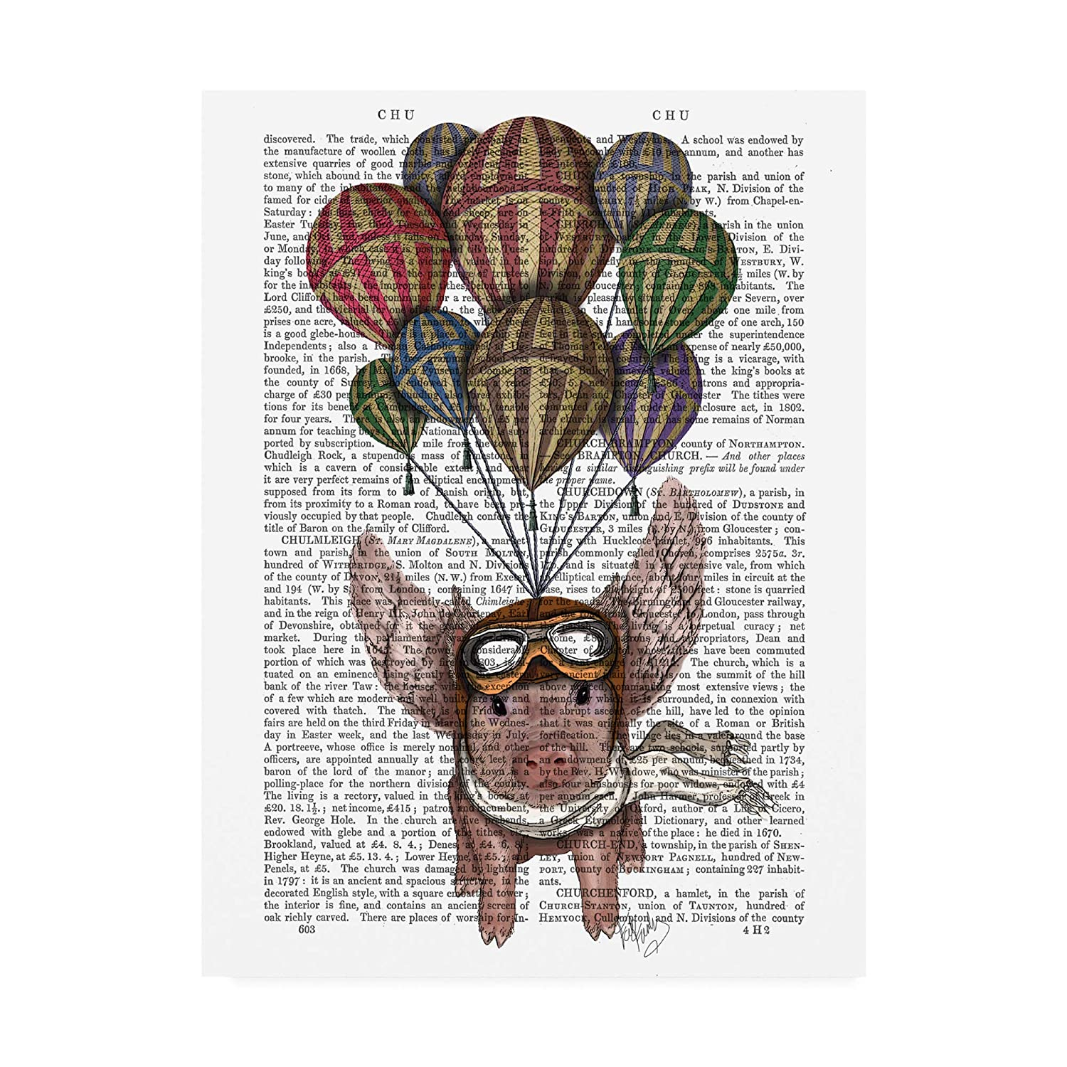 14x19 Trademark Fine Art Pig and Balloons by Fab Funky, 14x19