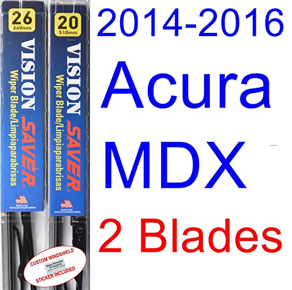 Amazon.com: 2014-2016 Acura MDX Replacement Wiper Blade Set/Kit (Set of 2 Blades) (Saver Automotive Products-Vision Saver) (2015): Automotive
