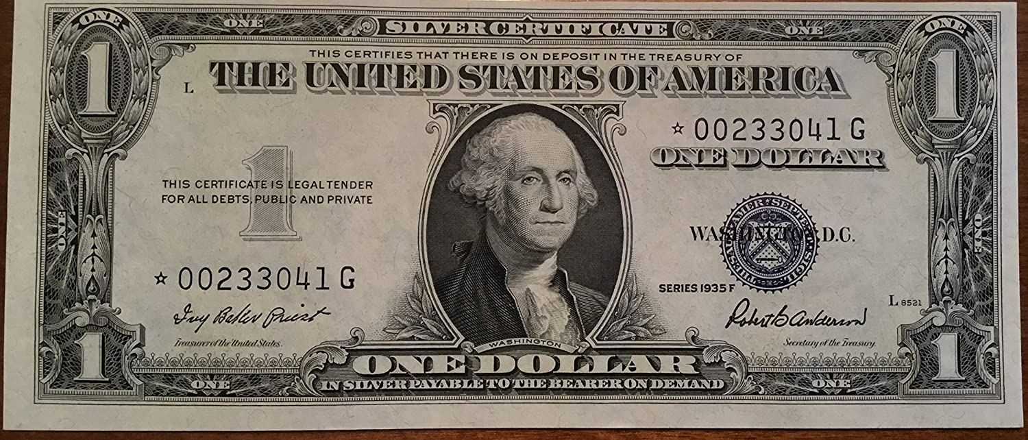 Amazon 1935 F Star Blue Seal One Dollar Silver Certificate