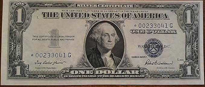 Amazon.com: 1935 F Star ⭐ Blue Seal One Dollar Silver Certificate ...