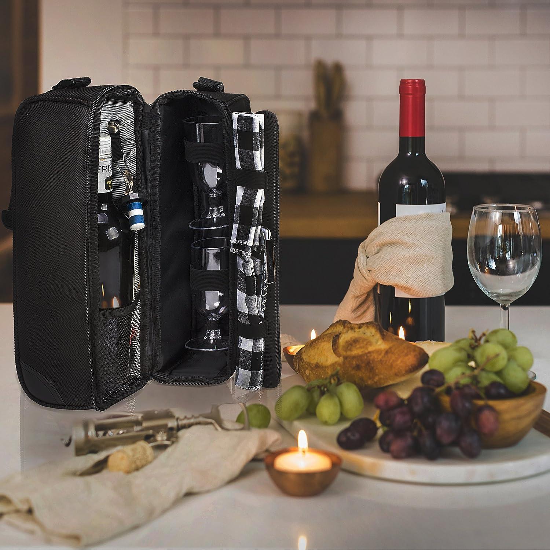 borsa tote per il trasporto di vino per due persone Eono Essentials Sacchetto di vino nero Deluxe con accessori vino nero