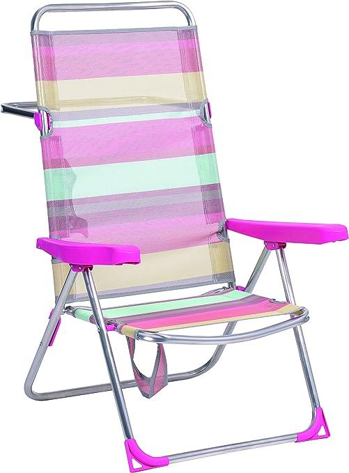 Alco 670ALF-1726 Silla Playa Alta, fibreline, Rayas Multicolor ...