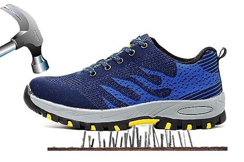 Axcer Unisex Zapatos de Seguridad con Punta de Acero Antideslizante Transpirable S3 Zapatillas de Trabajo Comodas