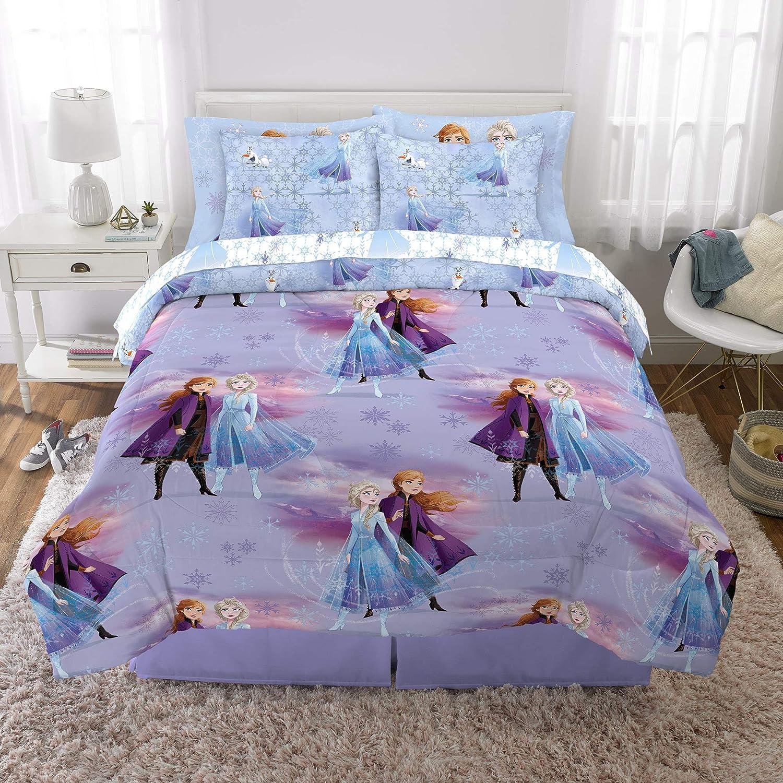 Franco Kids Bedding Super Soft Comforter and Sheet Set with Bonus Sham, 7 Piece Full Size, Disney Frozen 2