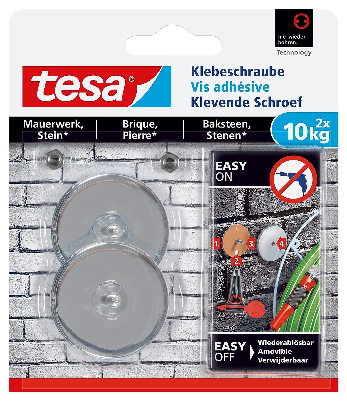 tesa 77908 - Lot de 2 Vis adhé sives rectangle pour brique 10 Kg 77908-00000-00