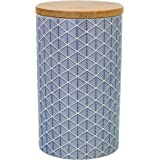 Geometric Design Patterned Porcelain Tea / Coffee / Sugar Canister - Blue
