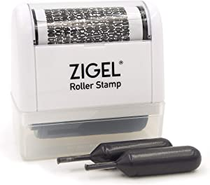 ZIGEL Identity Theft Protection Stamp - Roller Stamp with Two Replacement Ink Tubes