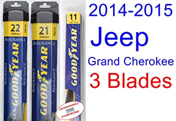 2014-2015 Jeep Grand Cherokee Replacement Wiper Blade Set/Kit (Set of 3 Blades) (Goodyear Wiper Blades-Assurance)