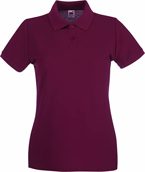 Polo Donna BORDEAUX Fruit of The Loom Manica Corta