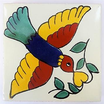 Azulejos Mexicanos Artesanales de Talavera de 10.5cm Azulejo individual