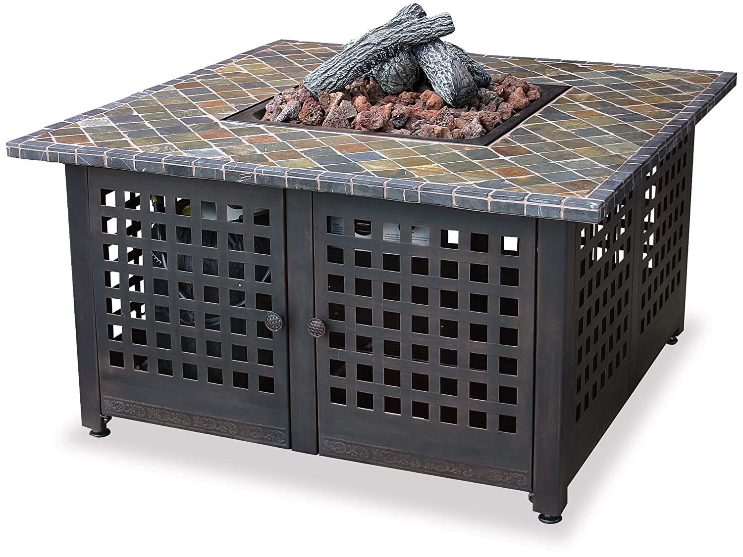 2. Blue Rhino Endless Summer, GAD860SP, LP Gas Outdoor Firebowl with Slate/Marble Mantel