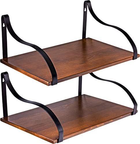 Floating Wall Shelves with Brackets, Solid Wood, Rustic Wall Mounted Large Shelving Storage, for Kitchens, Bathrooms, Bedrooms, Living Rooms, Farmhouse Wall D cor, 17 x 11 , Set of 2