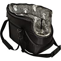 MALWERA BLACK with GREY FUR CARRY BAG SHOULDER TRAVEL CARRIER DOG PUPPY CAT PET ANIMAL (SMALL)