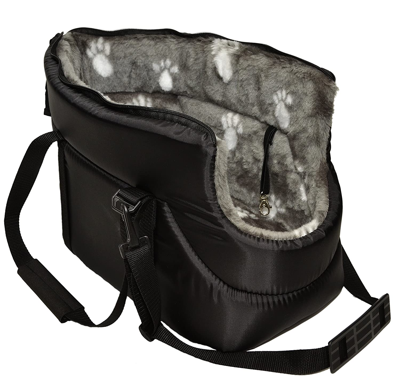 BLACK with GREY FUR CARRY BAG SHOULDER TRAVEL CARRIER DOG PUPPY CAT PET ANIMAL (LARGE) EWJUL