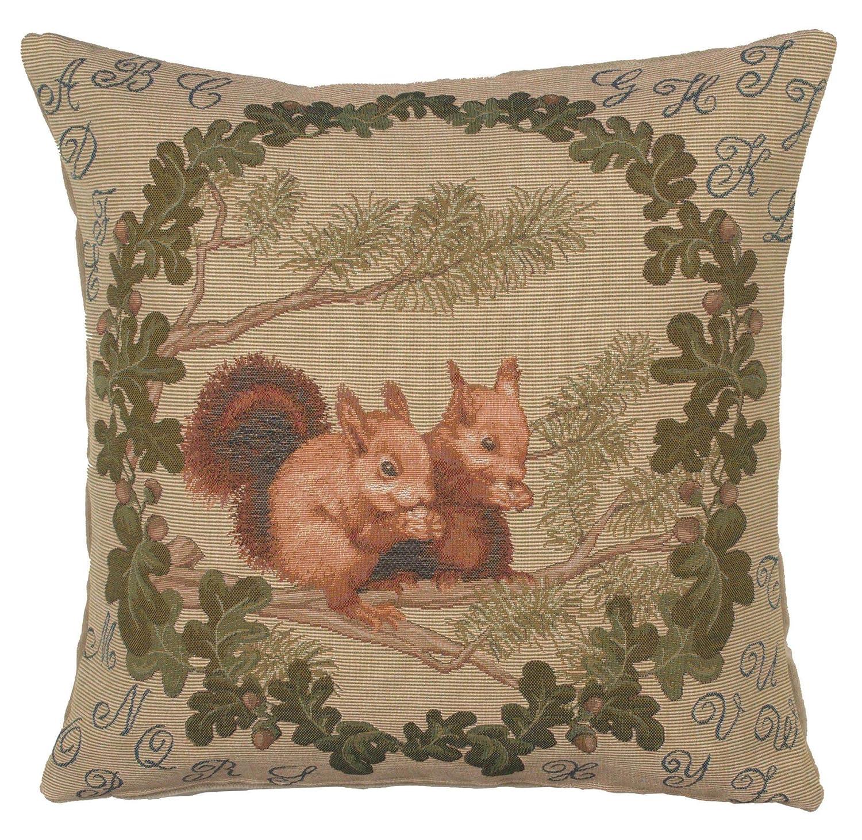 Jacquard tejido francés tapiz, ardillas. 19 x 19