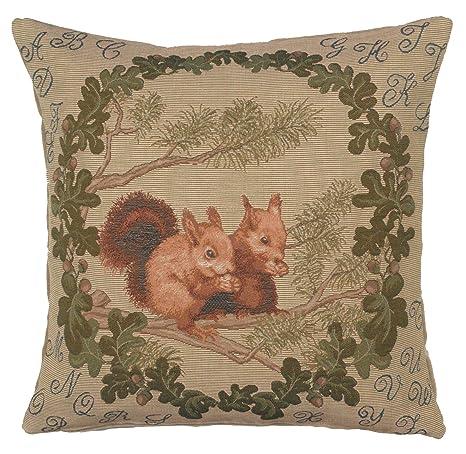 Amazon.com: Jacquard Woven Tapestry, ardillas. 19 x 19 ...