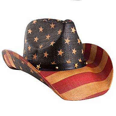 286b5ade869 grinderPUNCH Classic American Flag Cowboy Hat Antique Flag at Amazon ...