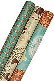 K-Kraft Vintage Prints Christmas Kraft Wrapping Paper Sets (Reindeer-Bulbs-Trees on Brown Kraft)
