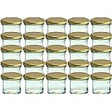 Cap+Cro To 66 Lot de 25 bocaux en verre pour conservation de confiture Couvercles dorés Capacité 125 ml