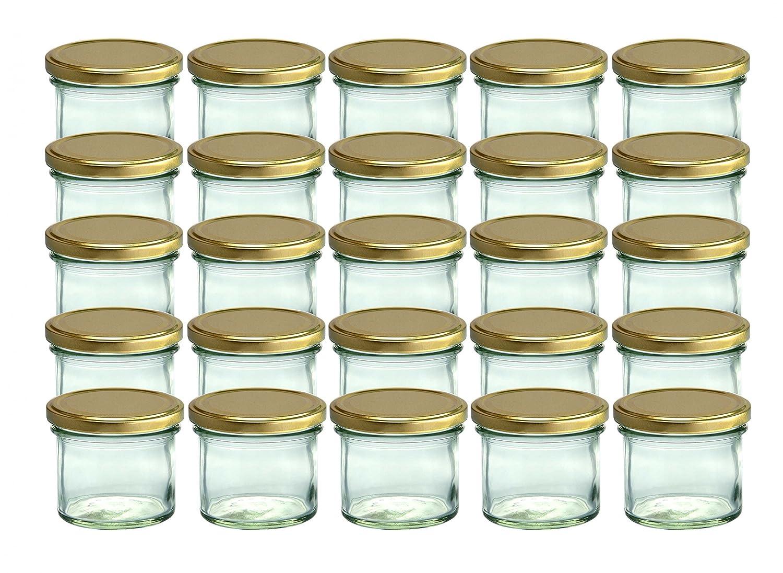 Set da 25 vasetti in vetro, per marmellate e conserve, 125 ml, coperchio avvitabile dorato, 66 mm CapCro