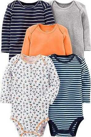 Simple Joys by Carters Baby-Boys 5-Pack Neutral Long-Sleeve Bodysuit