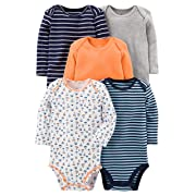 Simple Joys by Carter's Baby Boys' 5-Pack Long-Sleeve Bodysuit, Sailboat/Blue Stripe/Orange/Gray, Newborn