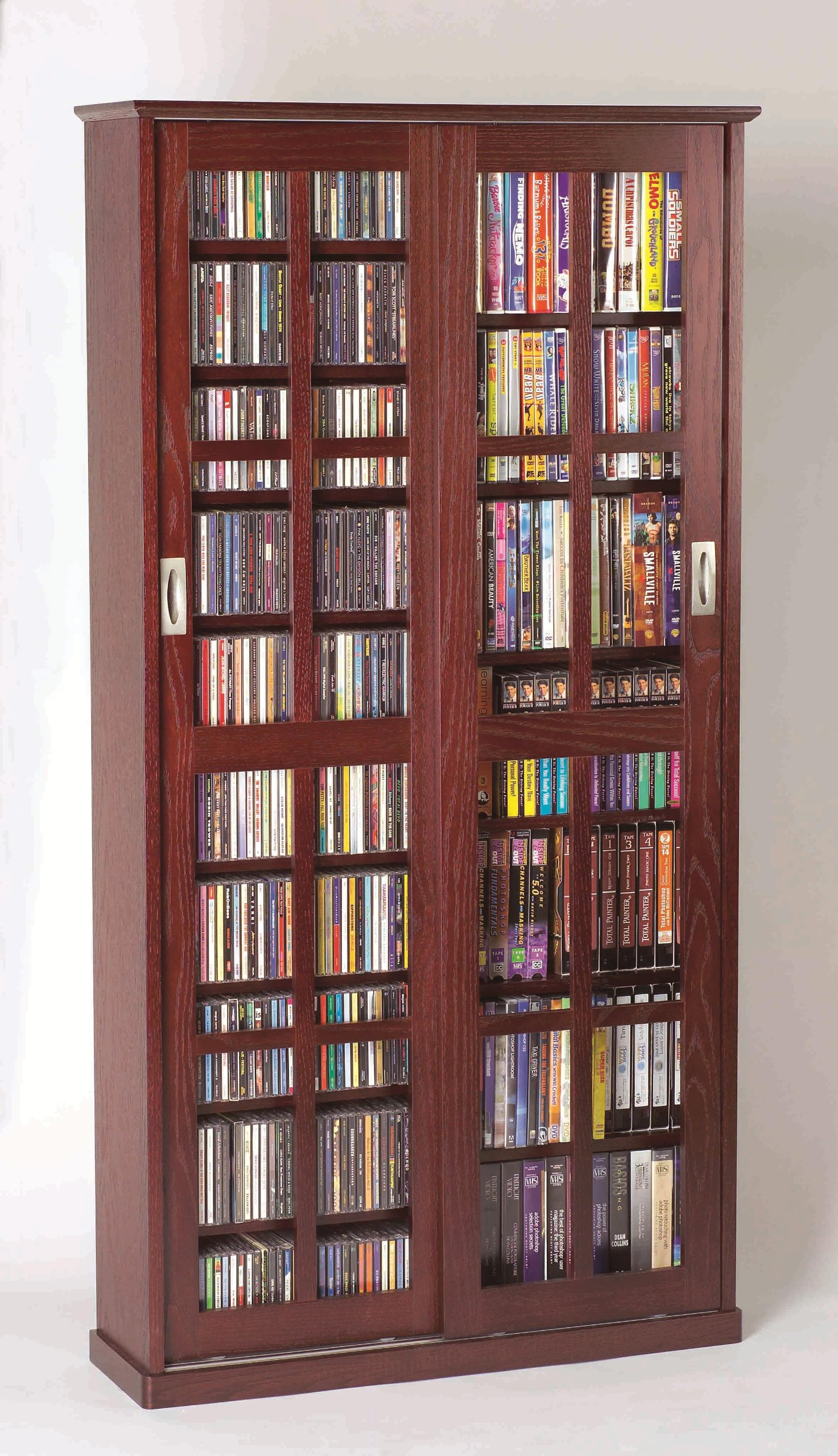Leslie Dame Mission Multimedia DVD/CD Storage Cabinet with Sliding Glass Doors, Cherry by Leslie Dame