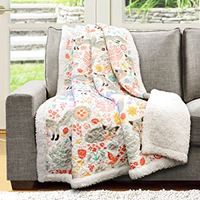 "Lush Decor Pixie Fox Throw Fuzzy Reversible Sherpa Blanket, 60"" x 50"", Gray & Pink: Home & Kitchen"