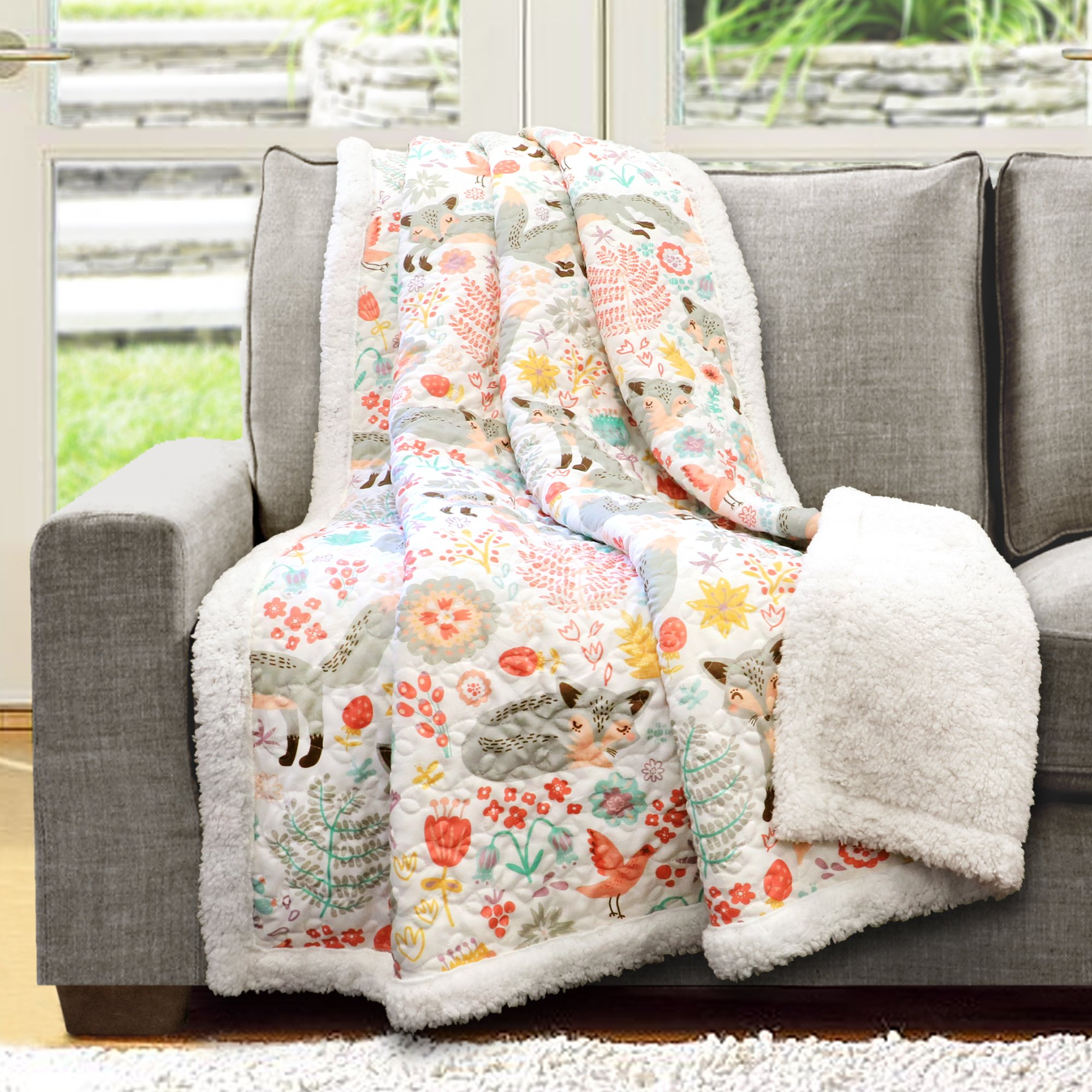 Lush Decor Pixie Fox Throw Fuzzy Reversible Sherpa Blanket, 60'' x 50'', Gray & Pink by Lush Decor
