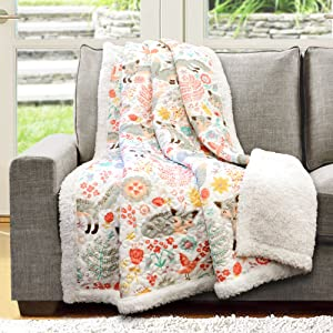 "Lush Decor Pixie Fox Throw Fuzzy Reversible Sherpa Blanket 60"" x 50"" Gray & Pink"