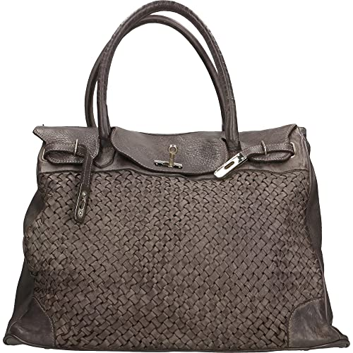 Chicca Borse Borsa a Mano da Donna Vintage in Vera Pelle Intrecciata Made  in Italy 39x33x15 Cm  Amazon.it  Scarpe e borse 3f6f5366e62