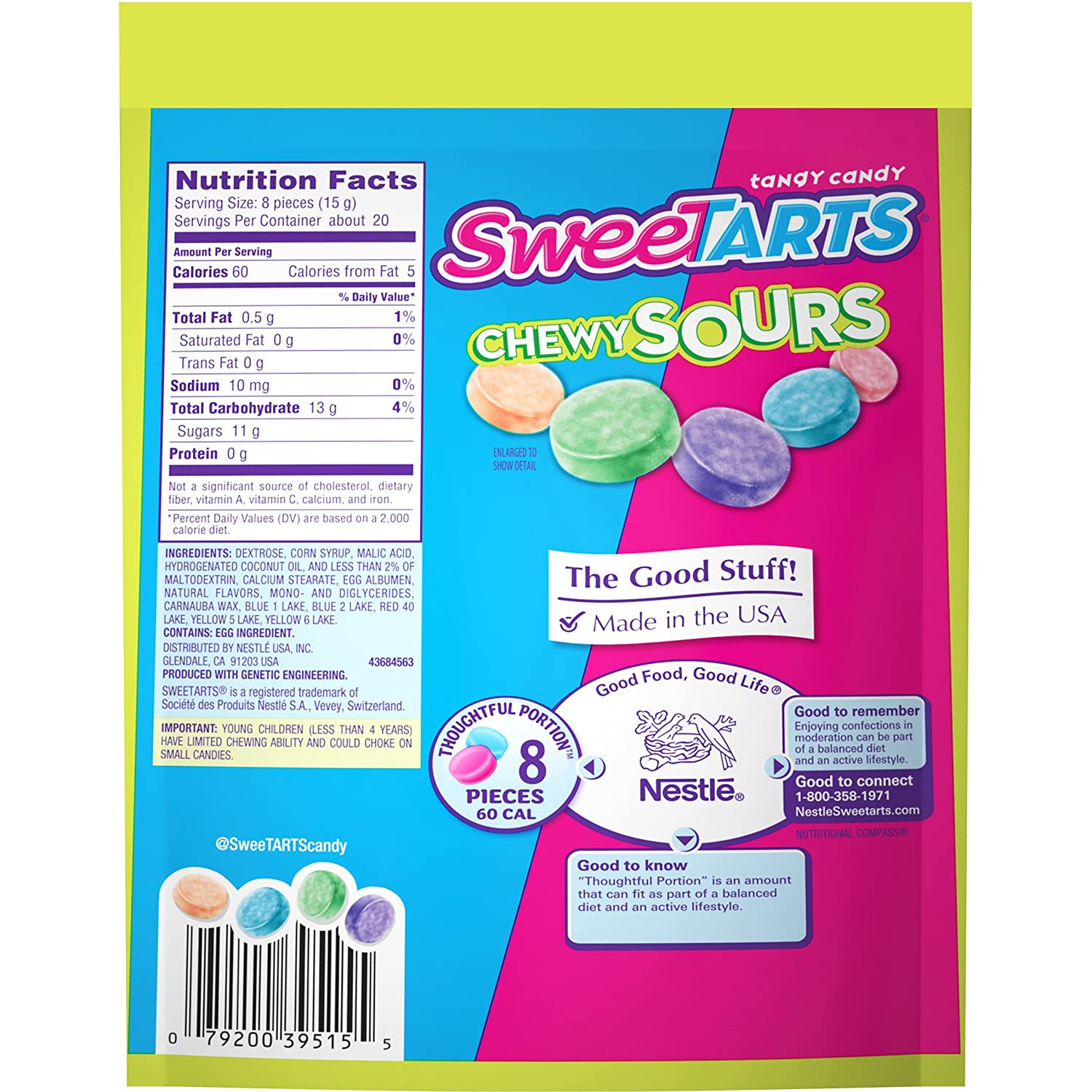 Amazon.com : SweeTARTS Chewy Sours Resealable Bag, 11 Ounce ...