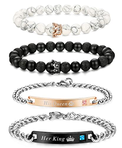 8f3eee3794 Thunaraz 4 Pcs Couples Bracelet for Men Women His & Her Stainless Steel  Chain Crown Queen 8mm Beads Bracelets: Amazon.ca: Jewelry