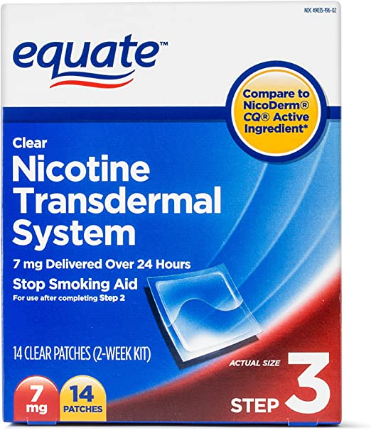Equate Clear Nicotine Transdermal System Step 3 Patches - Recommended For Light Smokers