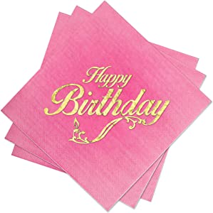 Birthday Party Lunch Napkins - 3 Colors: Pink Ombre, Blue Ombre or Ivory - 3 Ply - Size 6.5 x 6.5 Inches (50 Pack) - with Happy Birthday Gold Foil Stamp