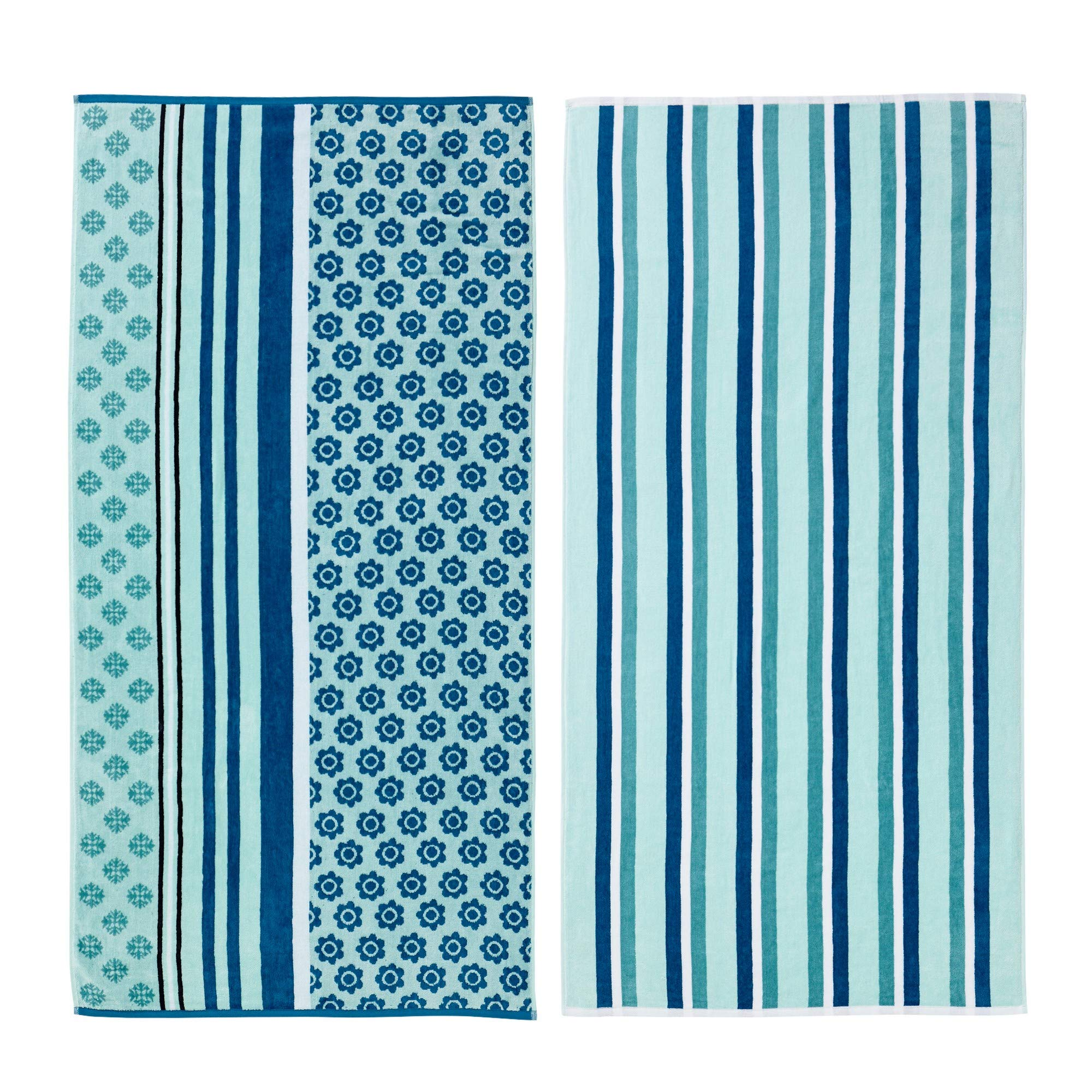 Great Bay Home 2 Pack 100% Cotton Jacquard Plush Nautical Beach Towel. 30'' x 60'' Maui Collection (Variegated Stripes)