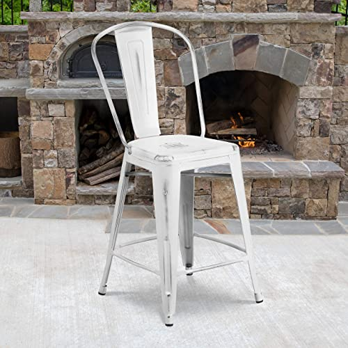 Reviewed: Flash Furniture Commercial Grade 4 Pack 24″ High Distressed White Metal Indoor-Outdoor Counter Height Stool