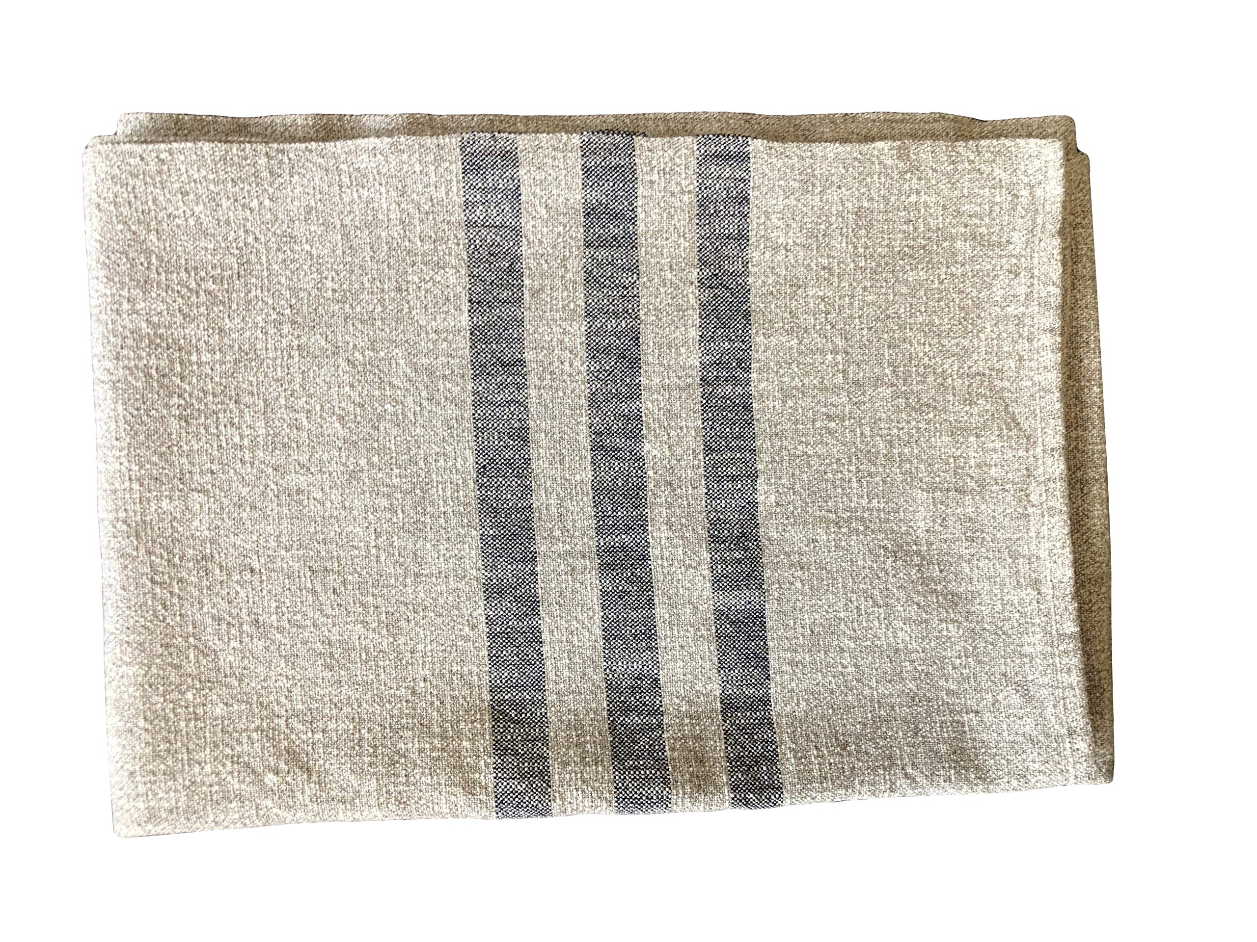 Hope Woodworking Cotton, Woven Throw Blanket, Cream with Navy Stripe, 52''x80'', Ruby Stripe Pattern, American Made