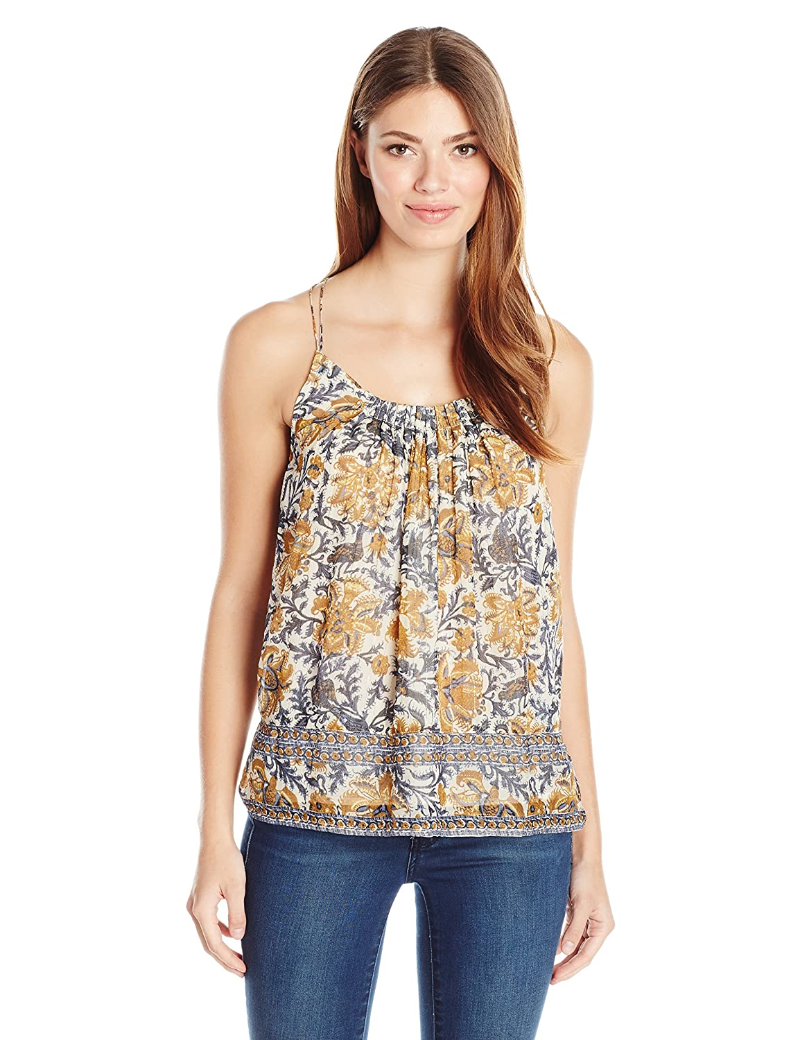 Natural Multi Lucky Brand Womens Yellow Floral Tank Top Tank Top Cami Shirt