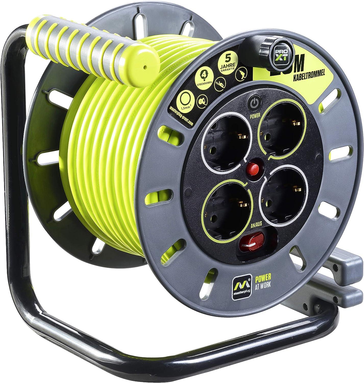 Masterplug Pro Xt Kabeltrommel Verlängerungskabel Mit 4 Steckdosen Wickelkurbel Thermoschutz Und Netzschalter 25 Meter Gut Sichtbares Kabel Baumarkt