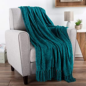 "Chenille Throw Blanket- For Couch, Home Décor, Bed, Sofa & Chair-Oversized 60"" x 70""- Lightweight, 5"" Fringe, Ultra-Soft & Shiny in Lagoon Teal by Bedford Home"