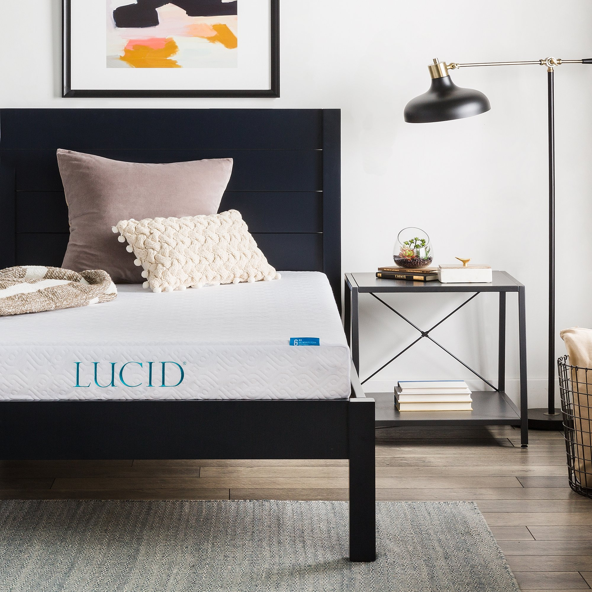 LUCID 6 Inch Memory Foam Mattress - Dual-Layered - CertiPUR-US Certified - Firm Feel - Queen Size