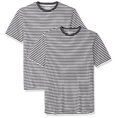 Essentials Men's Slim-fit Short-Sleeve 2-Pack Stripe Crewneck T-Shirts: Clothing