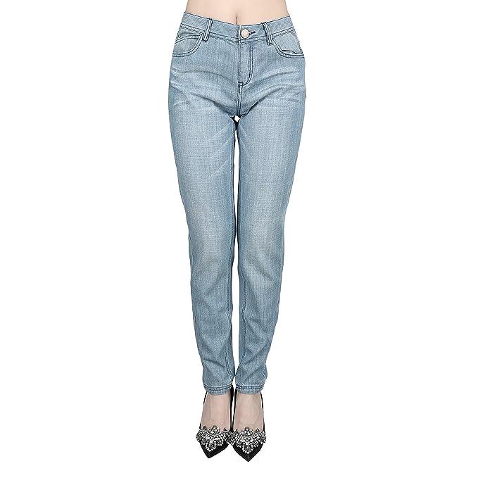 JNTworld Frauen Mittenanstieg Stretchige Jeans Schlank Denim Hose Gerade  Bein Jeans Gewaschen Jahrgang Jeans für Frauen,XL,Hellblau: Amazon.de:  Bekleidung